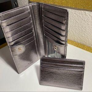 """2 pcs. """" Kate Spade"""" silver wallet"""